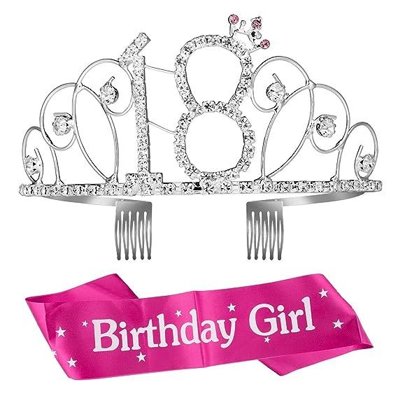 Feliz Cumpleaños 18TH, Diealles 18th Plata Cristal Tiara ...