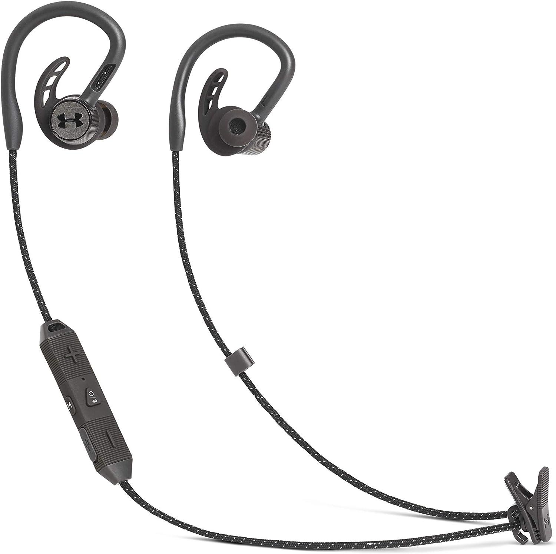 Under Armour PIVOT - Auriculares inalámbricos deportivos, con Bluetooth, audífono Biónico y gancho para un mejor ajuste, Resistente al agua (IPX7), Hasta 9 horas de música, Color Negro