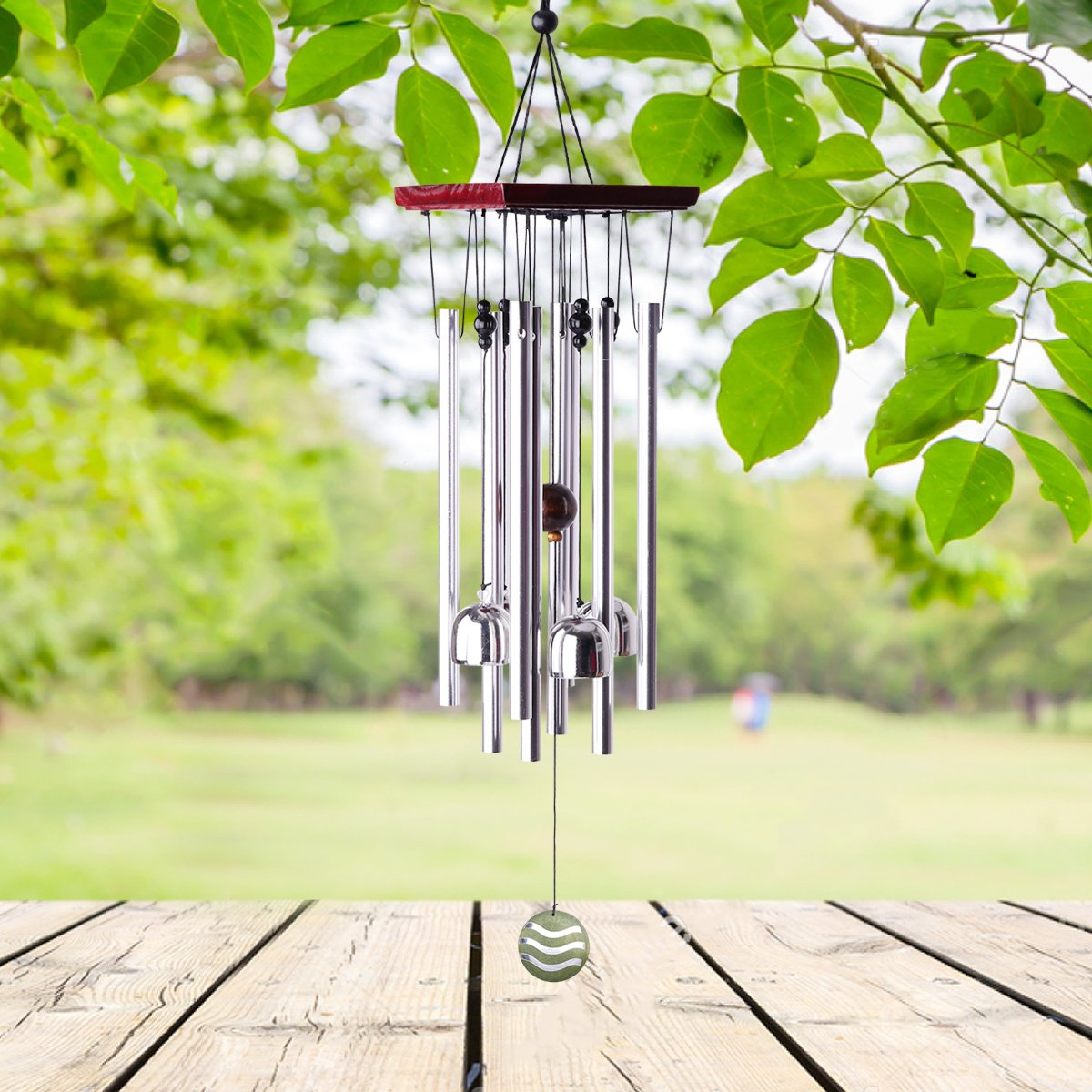 """punada Premium Wind Chimes Outdoor, 22"""" Amazing Grace Wind Chimes for Outdoor Indoor Patio Garden Balcony, Beautiful Outdoor Decor (Silver)"""