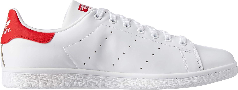 adidas Unisex-Erwachsene Stan Smith-b24704 Sneaker, schwarz, 47 EU Weiß (Running White Ftw/Running White Ftw/Collegiate Red)