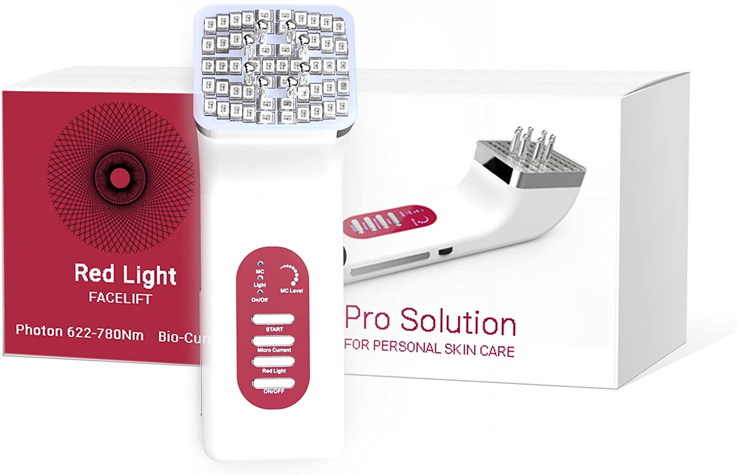 Anti-Wrinkle Microcurrent LED Light Facial Massager, 3 in 1 Skin Firming Device with Red Heat and Bio Current