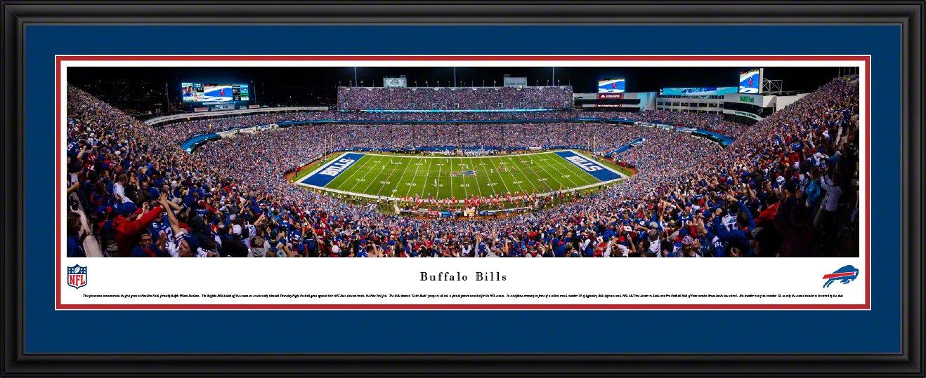 Buffalo Bills - 50 Yard - Night - Blakeway Panoramas NFL Posters with Deluxe Frame by Blakeway Worldwide Panoramas, Inc.