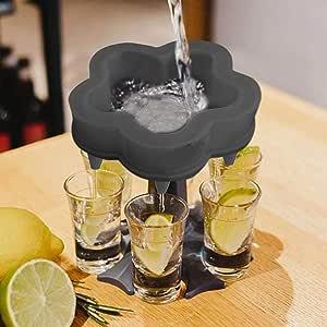 5 Shot Glass Dispenser and Holder, Shots Dispenser For Filling Liquids, Multiple 5 Shot Dispenser, Bar Shot Dispenser, Cocktail Dispenser,Carrier Liquor Dispenser Gifts Drinking Tool (Flower Black)