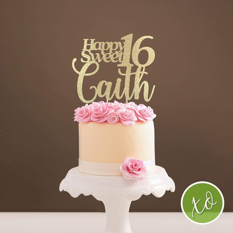 Astonishing Amazon Com Sweet 16 Topper Sweet Sixteen Birthday Cake Topper Personalised Birthday Cards Akebfashionlily Jamesorg