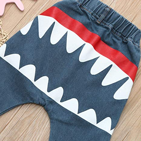 c8272a3c9c202 Pantalon Bébé Garçon Fille - Sunenjoy Jeans Sarouel Élastique Requin  Imprimé Harem Denim Pantalon Sport Jogging Running Casual Mode Mignon Harem  Pants pour ...