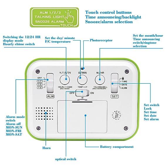 Reloj digital con despertador de la marca Jiemei. Relojes para niños y adultos, funciona con pilas, pantalla de 4,5 pulgadas, retroiluminación inteligente, ...