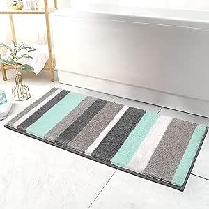 Amazon Com Hebe Extra Long Bathroom Runner Rug Non Slip Microfiber Bath Mat Rug Runner For Bathroom Absorbent Kitchen Floor Rug Machine Washable 18x47 2 Inches Home Kitchen