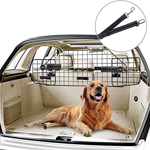 PUPTECK Dog Car Barrier for SUVs with Safety Belt – Heavy Duty Adjustable Pet SUV Wire Barriers Pet Car Gate Universal Dog Car Guard