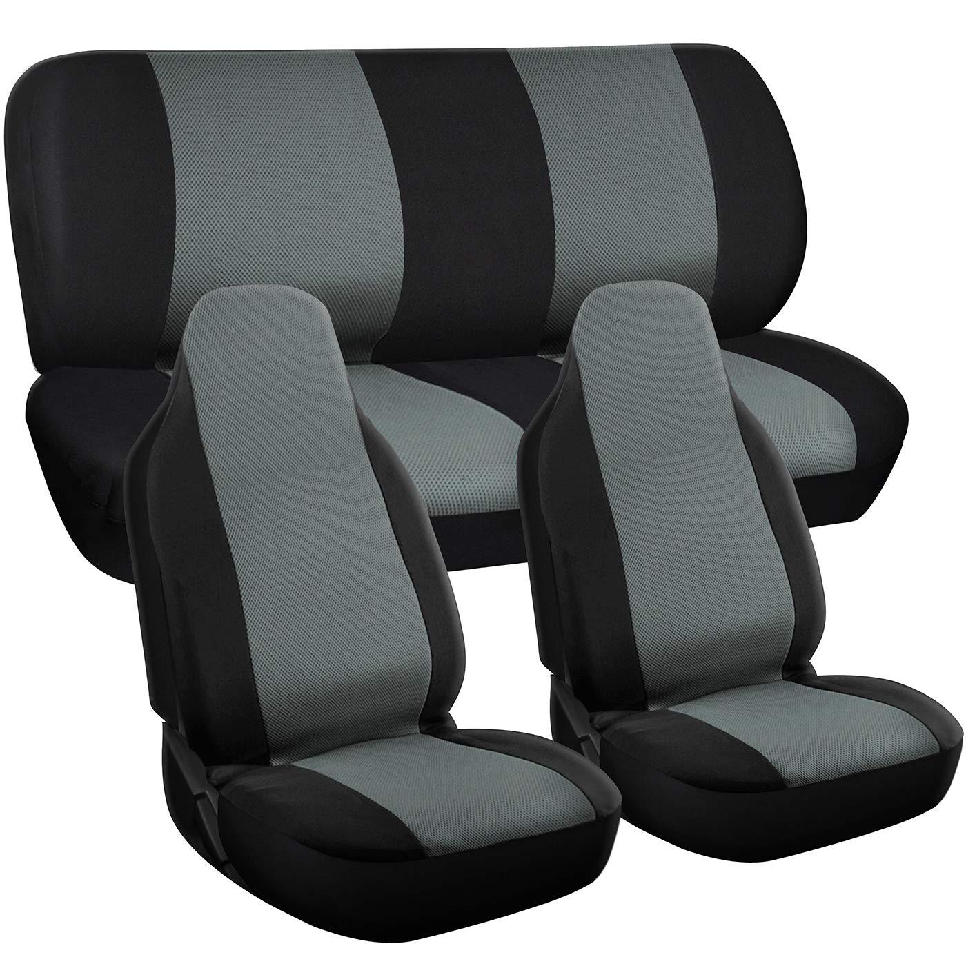 Motorup America Auto Seat Cover Full Set - Fits Select Vehicles Car Truck Van SUV - Gray and Black MUA-SCMS17GYBK-HS-NEW