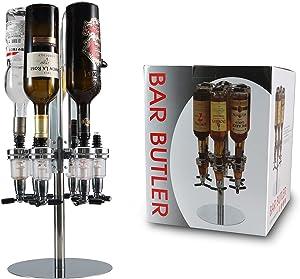 6 Bottle Liquor Dispenser, Wall mounted Rotating Jet Bar Butler, Alcohol Beer Cocktail Shot Dispenser Revolving Whiskey Bottle Dispenser Holder for Beverage Liquor Whiskey by PERA