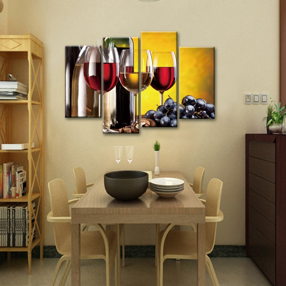 Amazon.com: Canvas Print Wall Art Grape and Wine 4 Panels Wall Decor ...