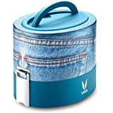 Vaya Tyffyn 600 ml Insulated Lunch Box - Stainless Steel Leak-Resistant Food Storage Container - 100% BPA Free, Eco-Friendly & Reusable Kid's Lunch Box - 20.3 oz (2.5 cups) total capacity (Denim)