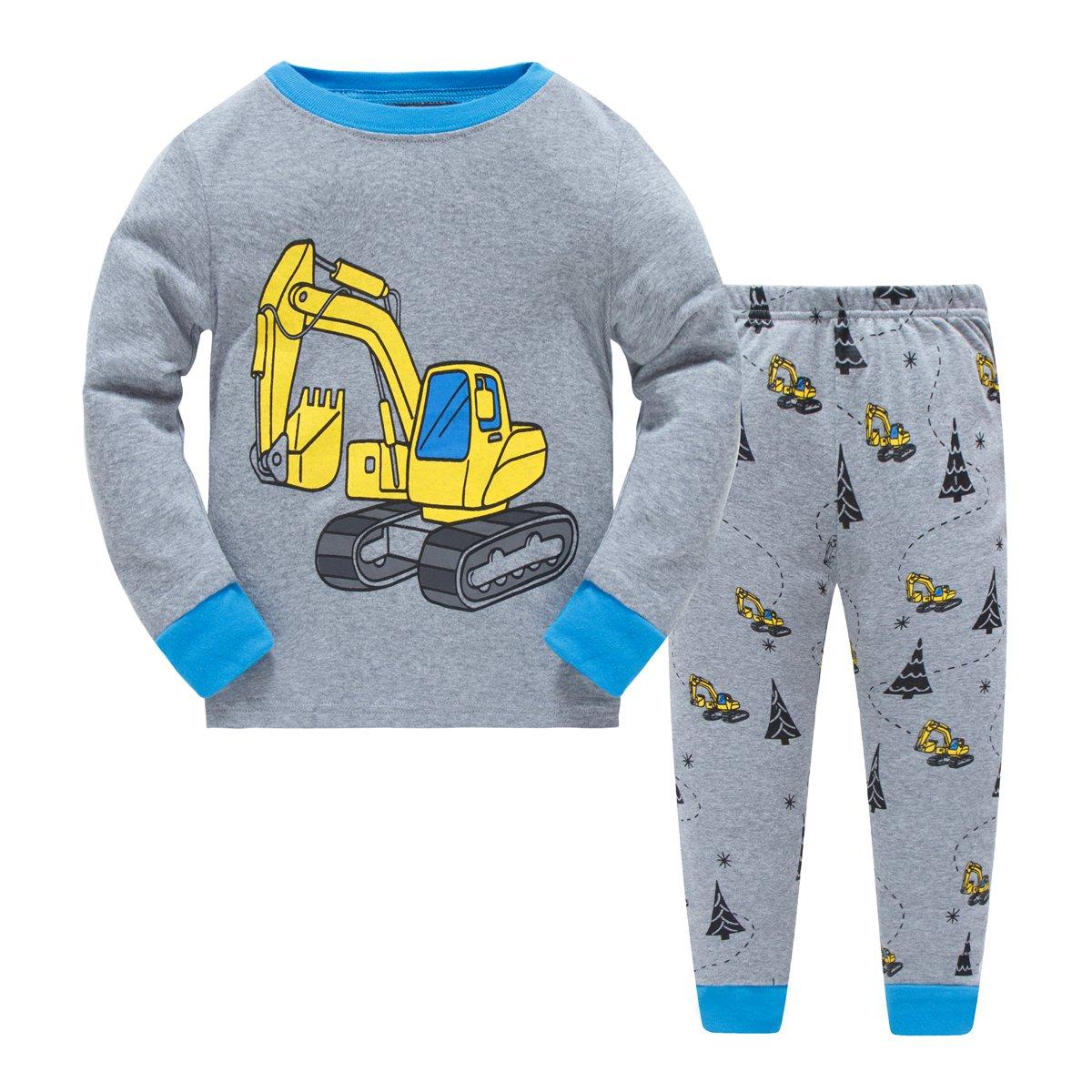 Boys Pajamas Excavator Childrens Pjs Kids Rib Long Sleeves Cotton Clothes Set Czofnjesi