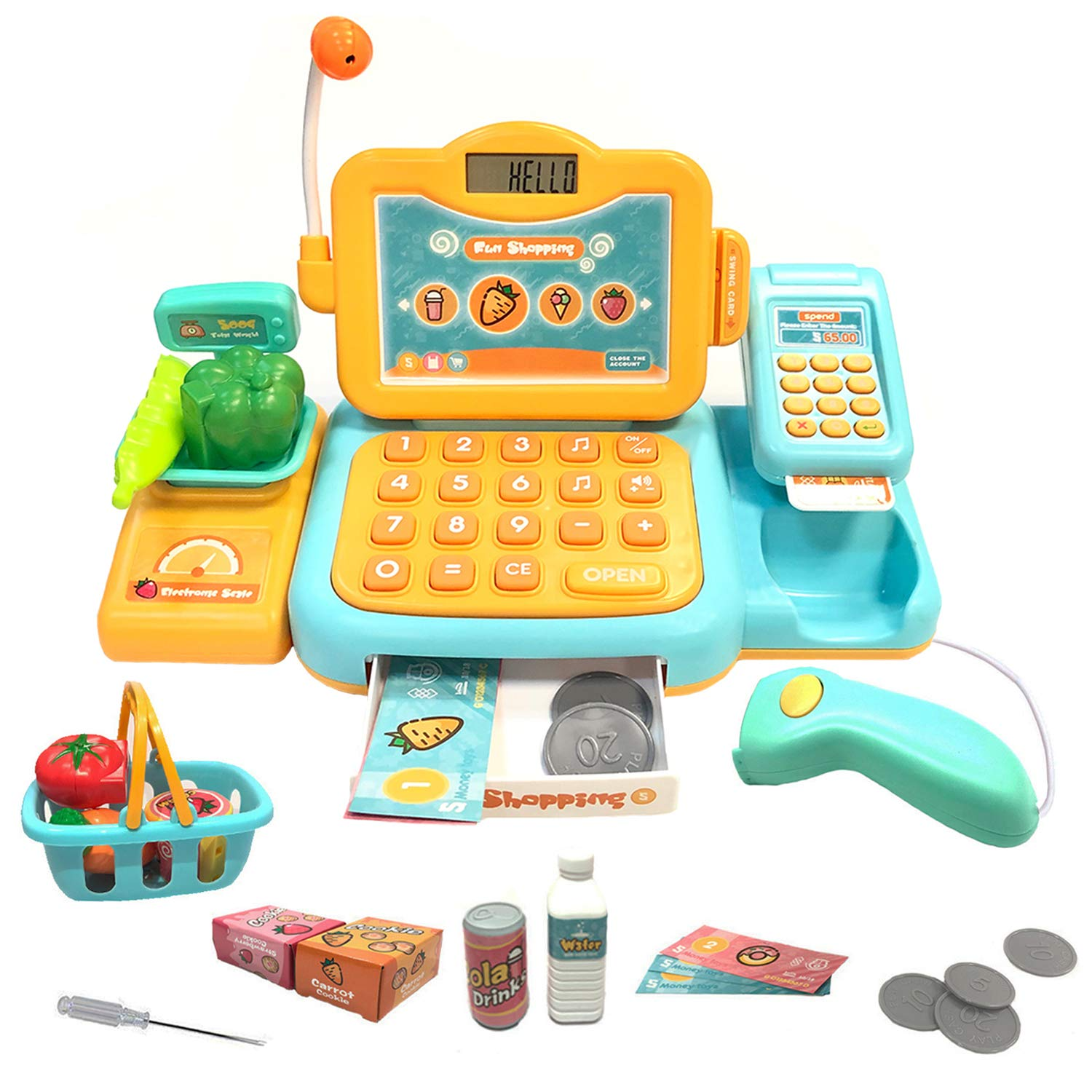 YYoomi Pretend Play Educational Cash Register Toy Classic Counting Toy with Microphone/ Calculator/ Scanner/ Sound/ Music for Kids & Toddlers & Preschoolers (Yellow)