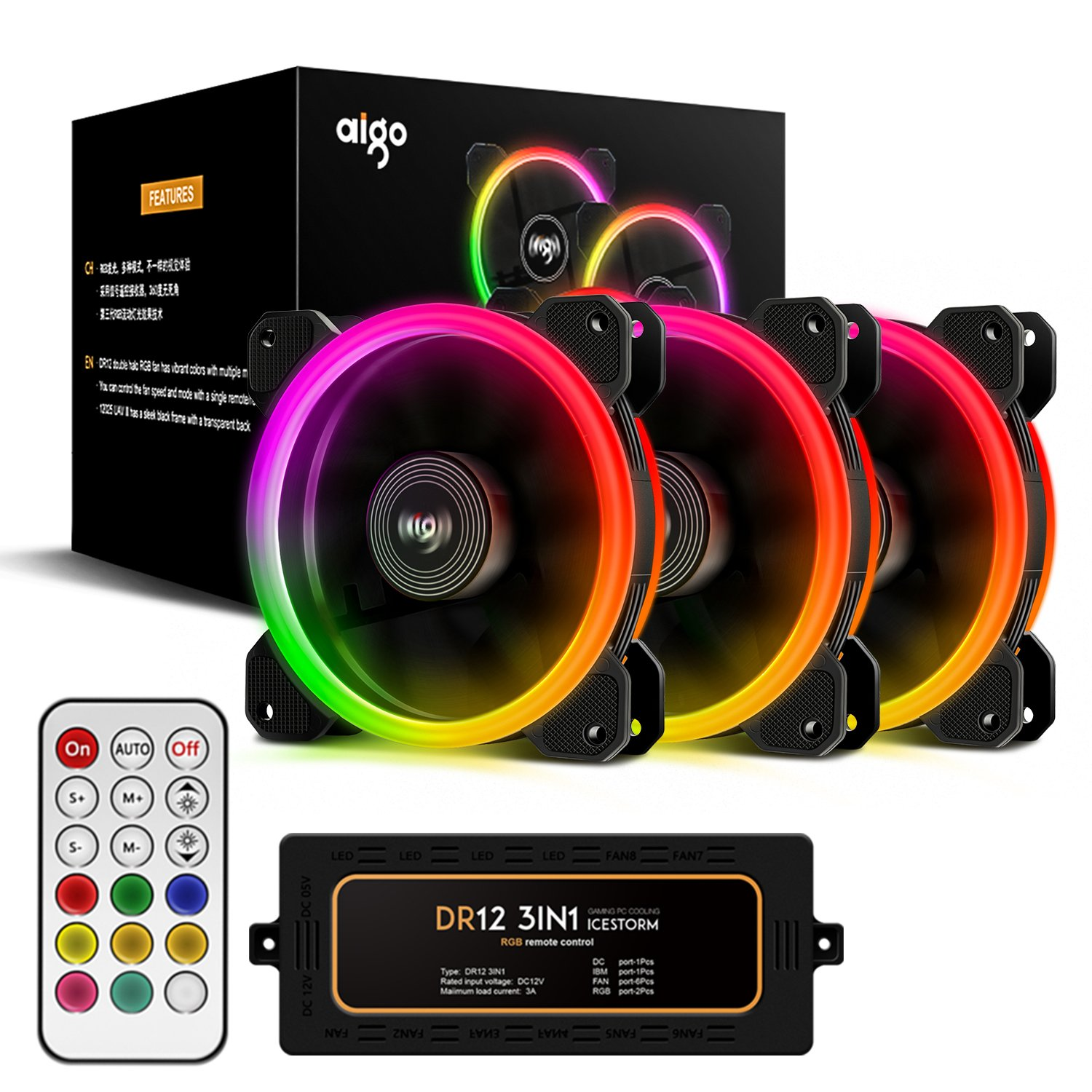 Aigo Aurora DR12 3IN1 Kit Case Fan 3-Pack RGB LED 120mm High Performance High Airflow Adjustable colorful PC CPU Computer Case Cooling Cooler with Controller (DR12 3IN1)