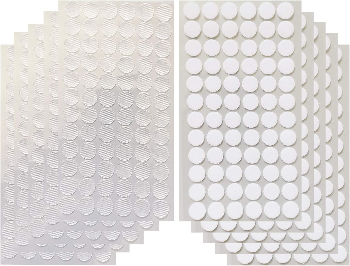 Vkey 700pcs (350pairs) 1.5cm Diameter Transparent Sticky Back Thin Clear Dots with Adhesive Hook & Loop Coins Tapes