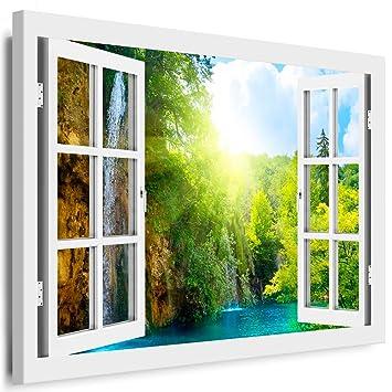 Blick aus dem fenster poster  Amazon.de: BOIKAL XXL48-5 Fensterblick Leinwand bild 3D Illusion ...