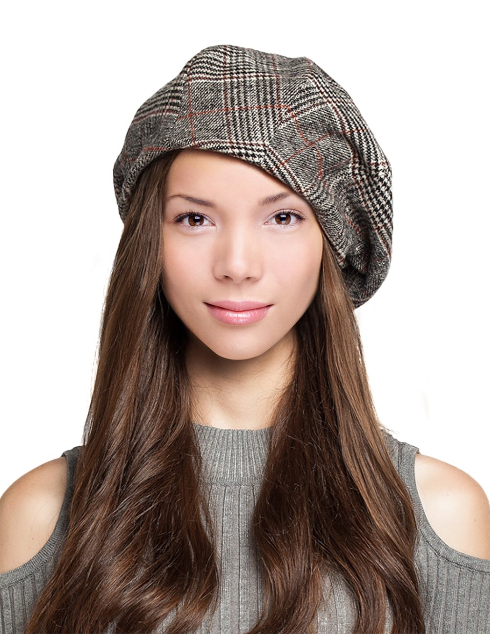 Dahlia Women's Velvet Lined Wool Blend Beret Bow Decorated Painter Plaid - Black
