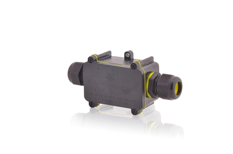 Boîte de distribution étanche 24A 450V AC deux ouvertures 4m Profondeur d'eau certifié TÜV VDE & CE Boîte dédoublement Boîte de raccordement IP68Câble Intratec Warenhandel GmbH