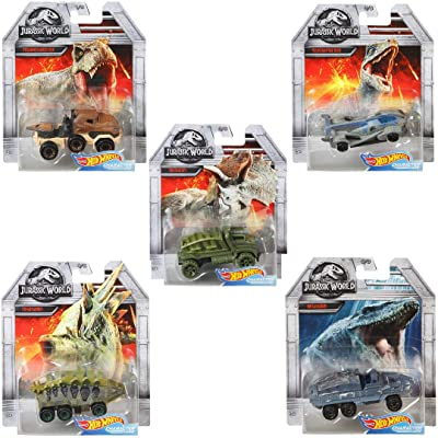 Hot Wheels Jurassic World Character Cars Full Complete Set of 5 Diecast: Toys & Games