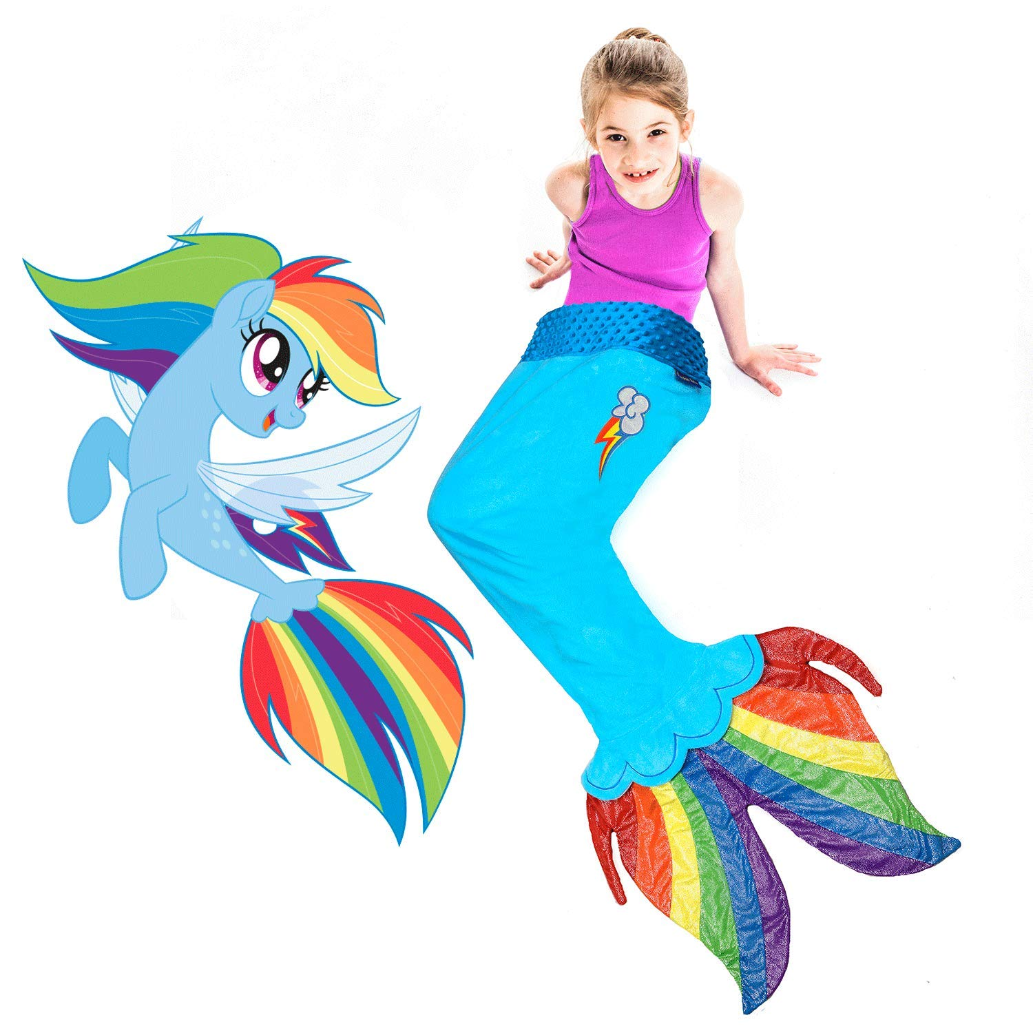 Amazon.com: My Little Pony Seapony Blanket in Rainbow Dash - Beautiful MLP Rainbow Dash Design with Cutie Mark for Rainbow Dash Fans: Home & Kitchen