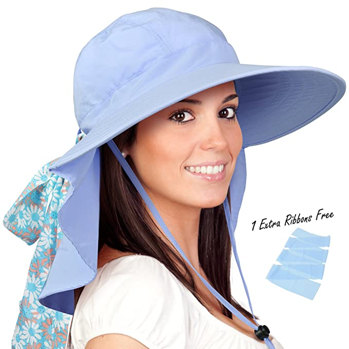 Womens Sun Hats Neck Flap Large Brim UV Protection Foldable Fishing Hiking  Cap Blue ba346153dda2