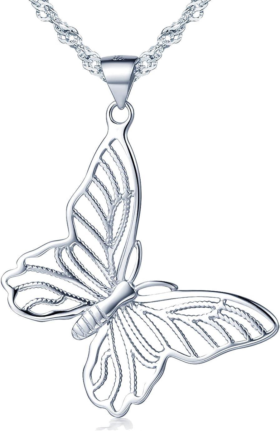 Collar con colgante de mariposa hueca de plata de ley 925, para mujer y niña de la joyería Yumilok