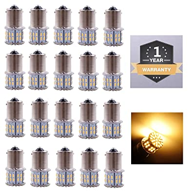 Cargo LED 20 Pcs Extremely Super Bright 1156 1141 1003 1073 BA15S 7506 50 SMD 3014 LED Replacement Light Bulbs for RV Indoor Lights 3000K Warm White: Automotive