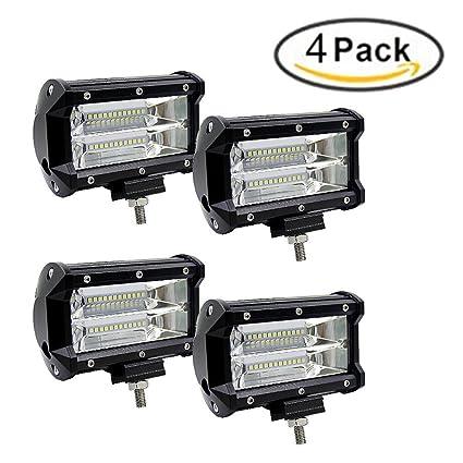 72W Focos de Coche LED Potentes,Faro de trabajo con luz LED de 5 ...