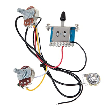 3 Pickup Guitar Wiring Harness- Prewired with 500k Pots 5 Way, 1 Volume, on