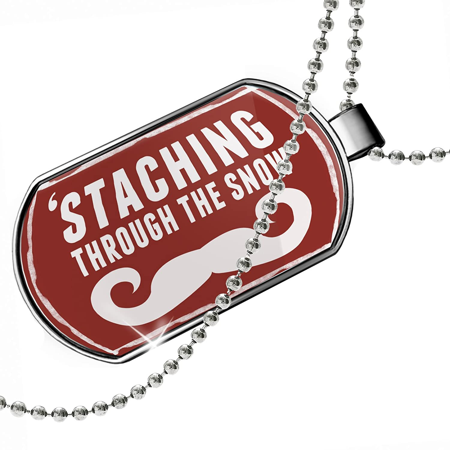 Merry Christmas Dogtag Necklace NEONBLOND Personalized Name Engraved Mustache Beard red