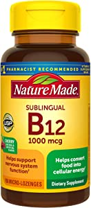 Nature Made Sublingual Vitamin B12 1000 mcg Micro-Lozenges, 150 Count for Metabolic Health†