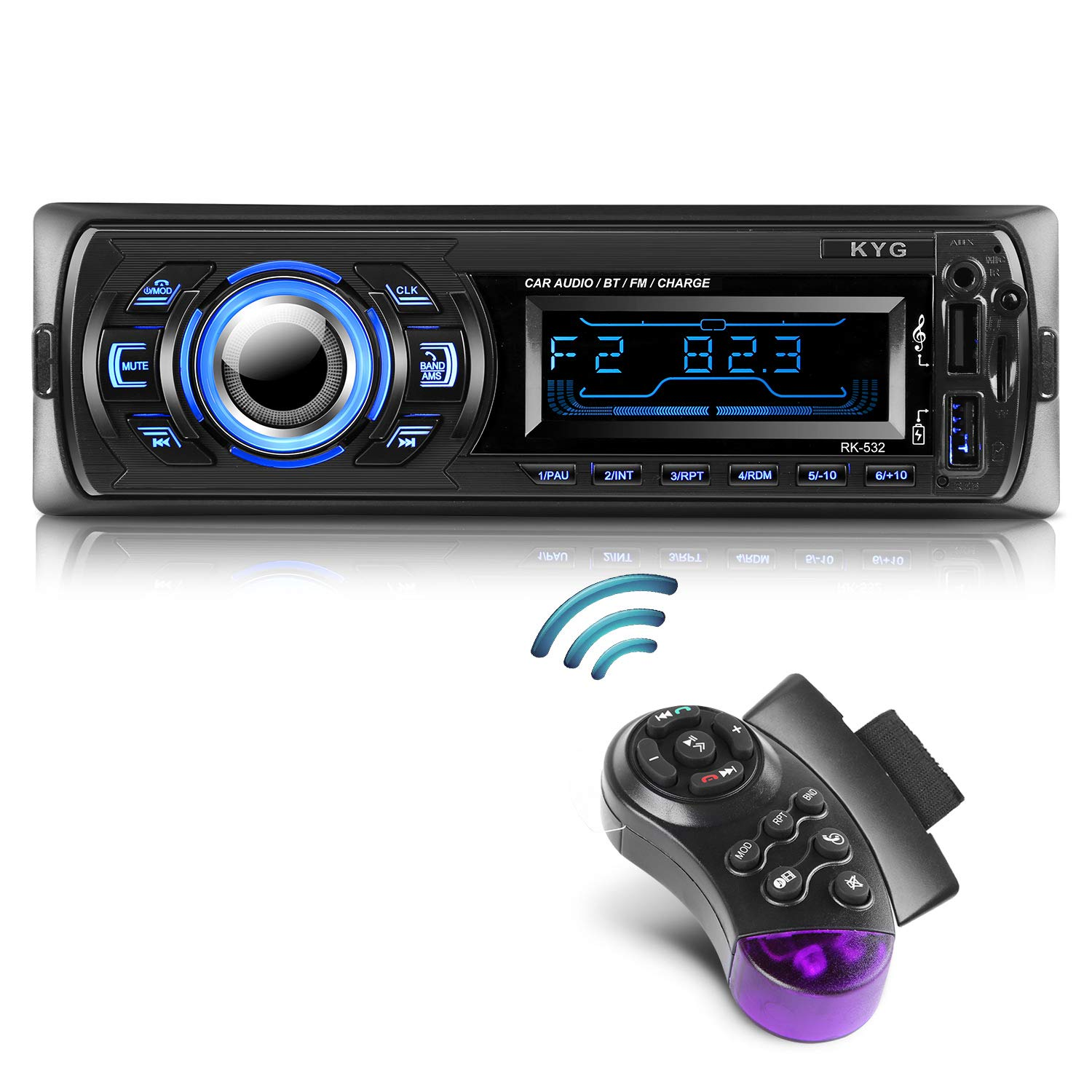 Autoradio Bluetooth Main Libre KYG Radio Voiture avec 2 Ports USB et MMC Card Slot, Supporte Max 32G de Mémoire Lecteur FM/MP3/ USB/SD/WMA/AUX/Télécommande, 7 Couleurs d'éclairage product image