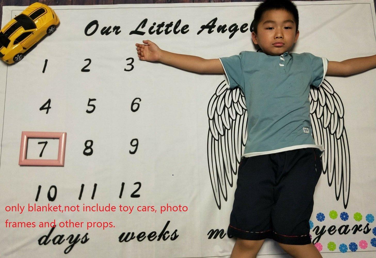 Reutilizable para fotograf/ía con dise/ño de hitos y Fotos con Fondo de Tiro Manta mensual para beb/é