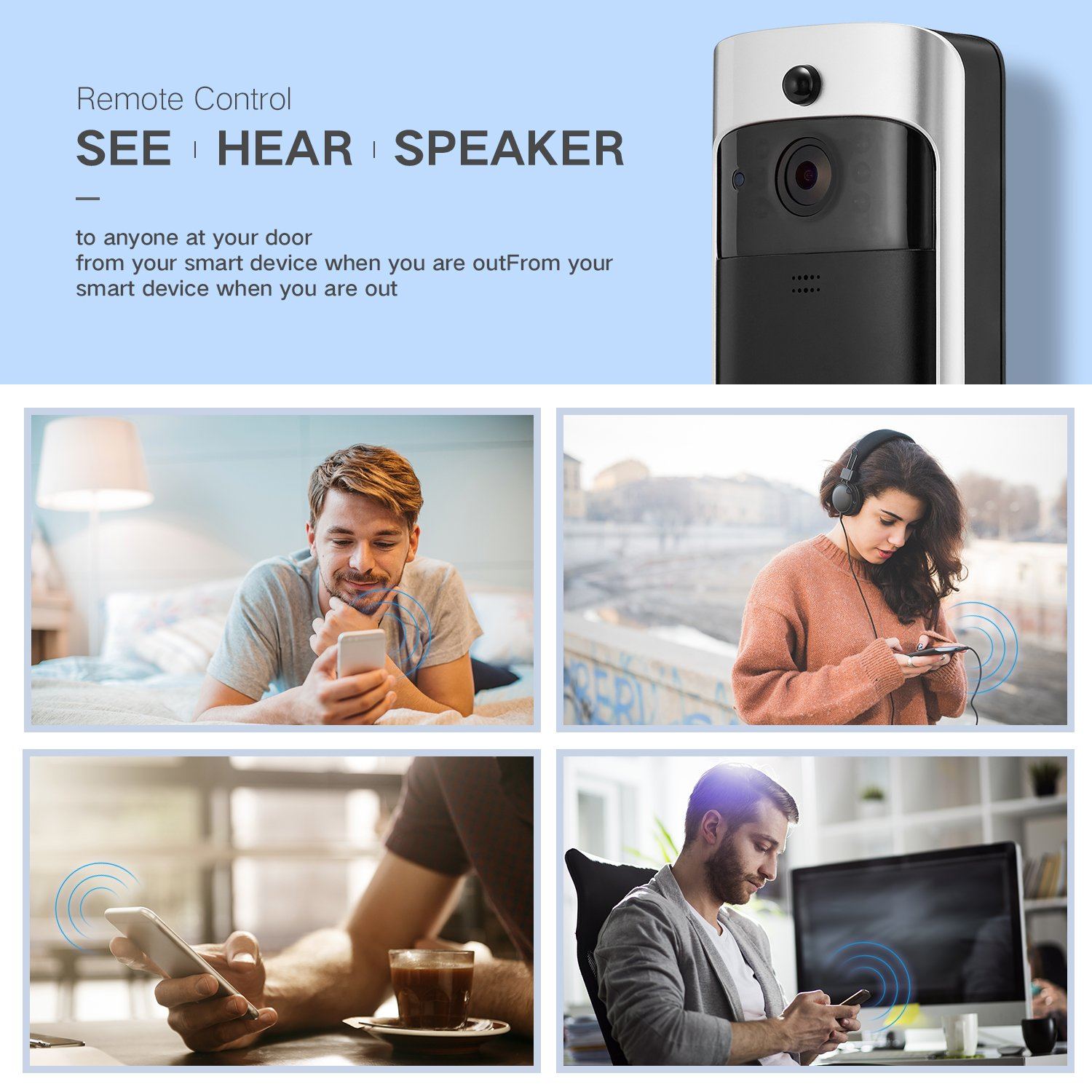 GJT Smart Video Doorbell Wireless Home WIFI Security Camera With Indoor Chime, 8G SD Card, Free Cloud Service, 2 Batteries, 2-Way Talk, Night Vision, PIR Motion Detection, APP Control for IOS Android by GJT (Image #3)