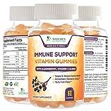 Immune Support Gummies with Elderberry, Vitamin C & Zinc, Natural Pectin Based Immunity Booster & Adult Immune System Supplement - Tasty Natural Fruit Flavor - 60 Gummies