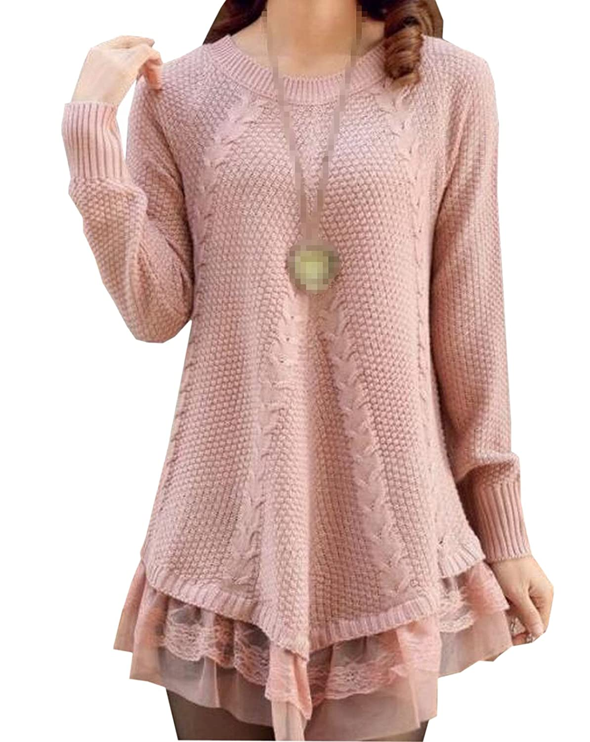 Ovetour Women Lace Loose Knit Sweater Long Sleeves Slim Pullover Beige)