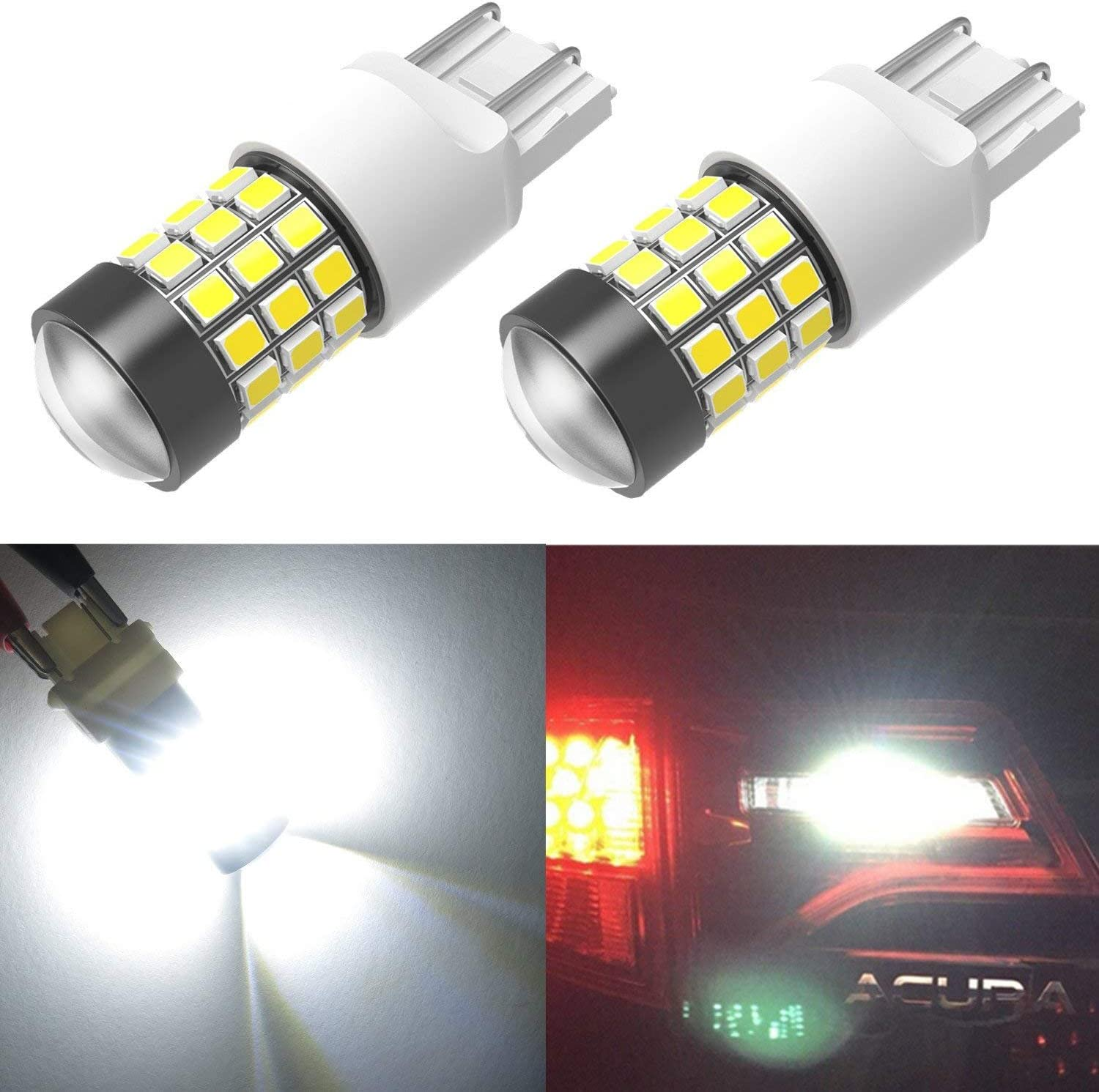 Alla Lighting T20 7443 7440 LED Strobe Flashing Brake Lights Bulbs Super Bright 2835 SMD 12V Dual Filament 6000K Xenon White Blinking Stop Lights for Cars, Trucks 7441 7444 7442