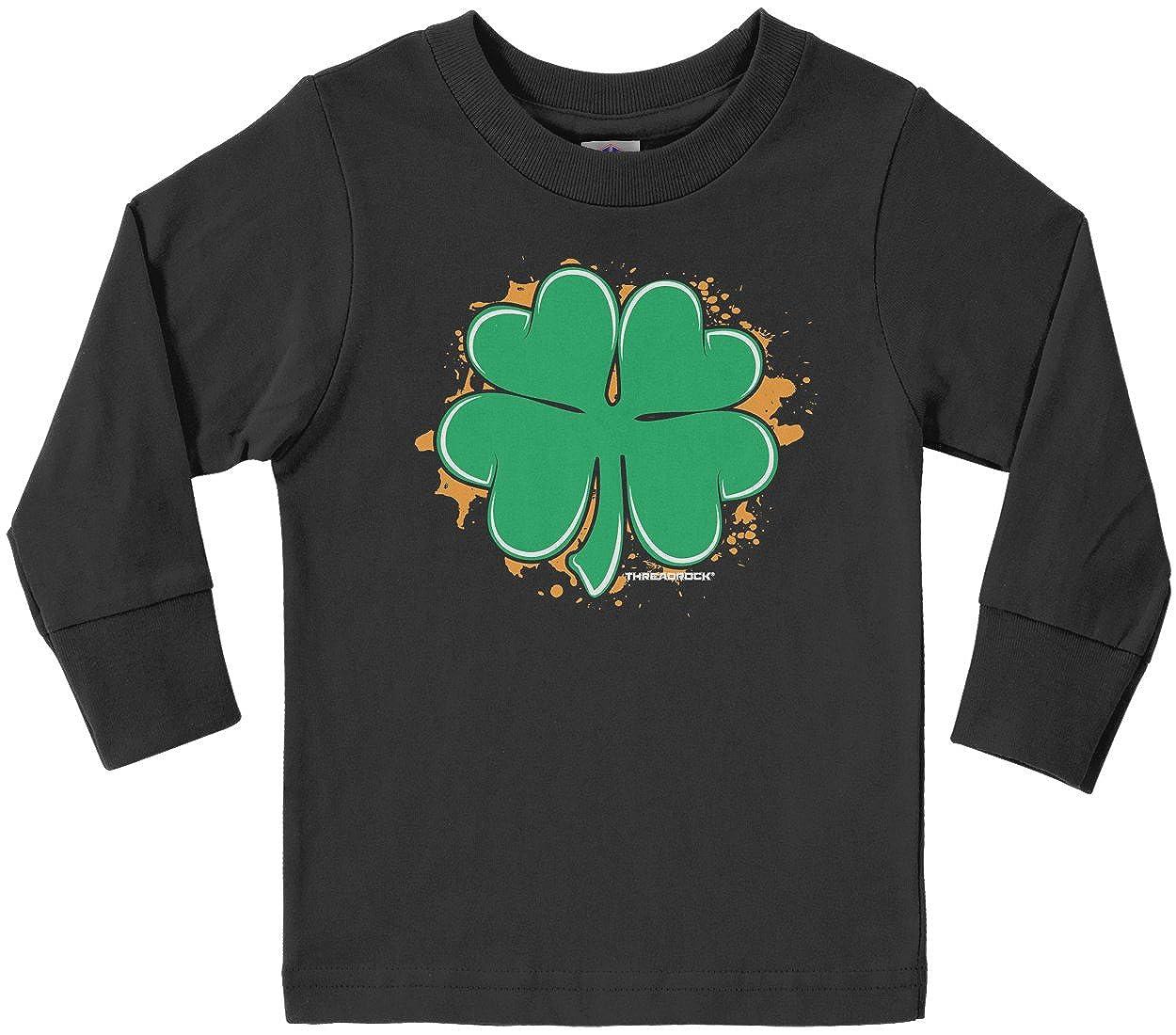 Baby Girls Little Boys Green 4 Leaf Clover ComfortSoft Long Sleeve Tee