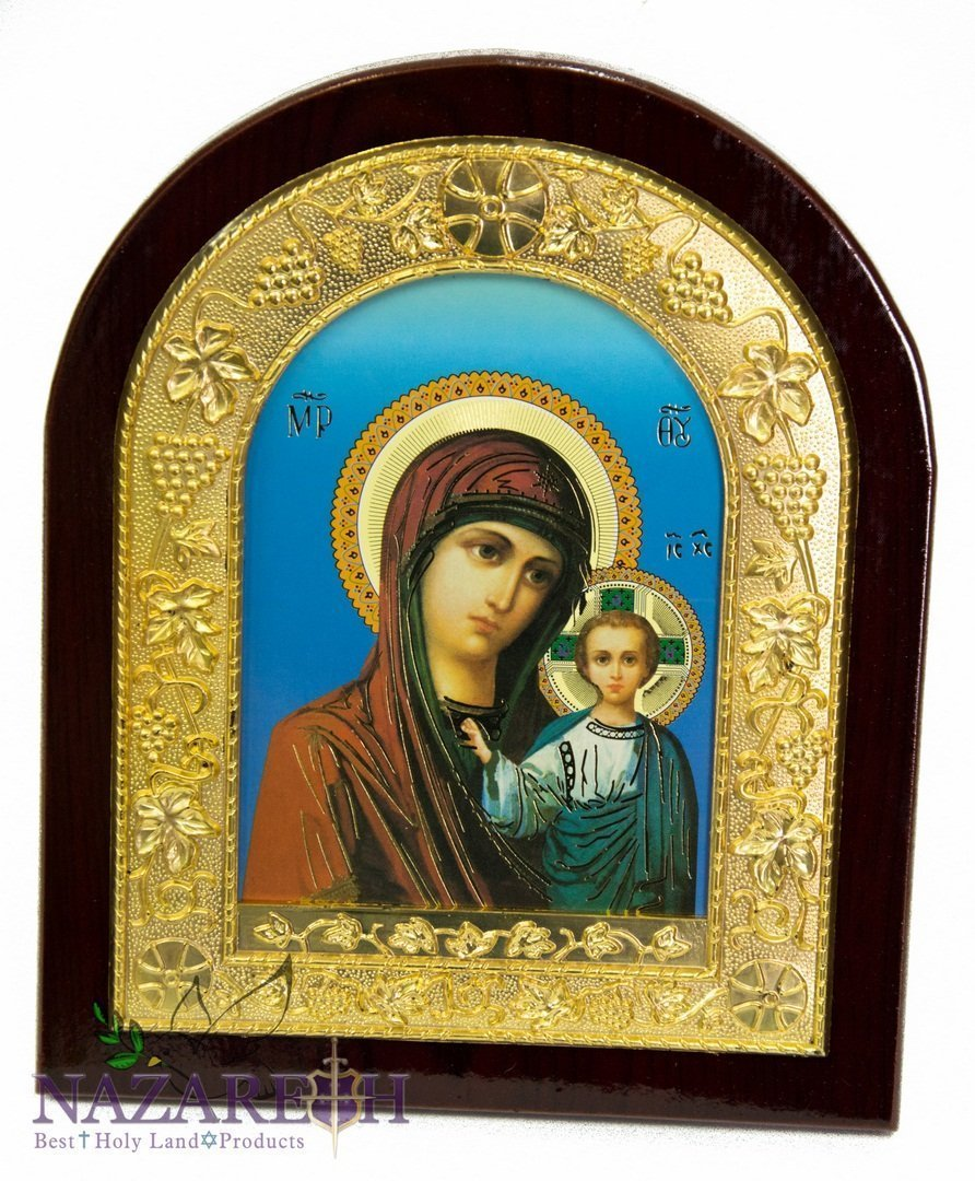 Virgin Mary & Infant Jesus Icon Handmade Wall Picture Christian Plaque by Holy Land Gifts
