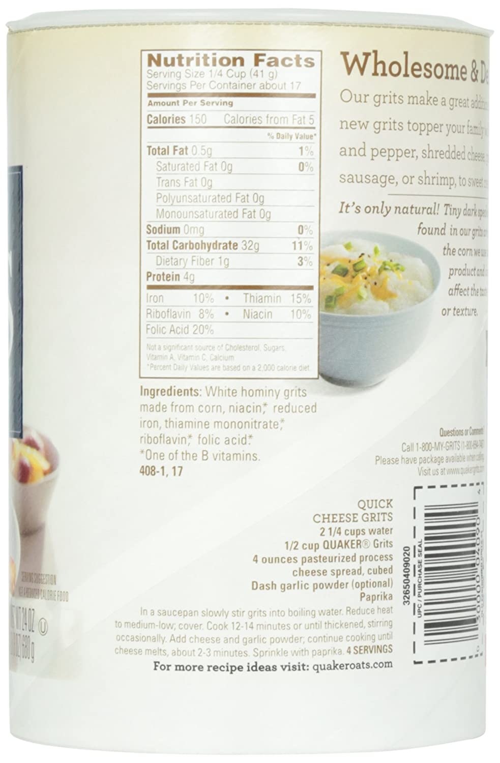 Amazon.com: Quaker Old Fashioned Smooth & Creamy Grits, 24 Ounce: Breakfast Grits