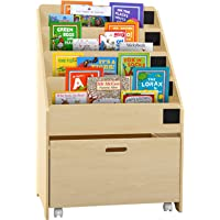 Keezi 4-Tier Kids Bookcase Magazine Organiser Display Shelf with Toy Storage Drawer - Natural