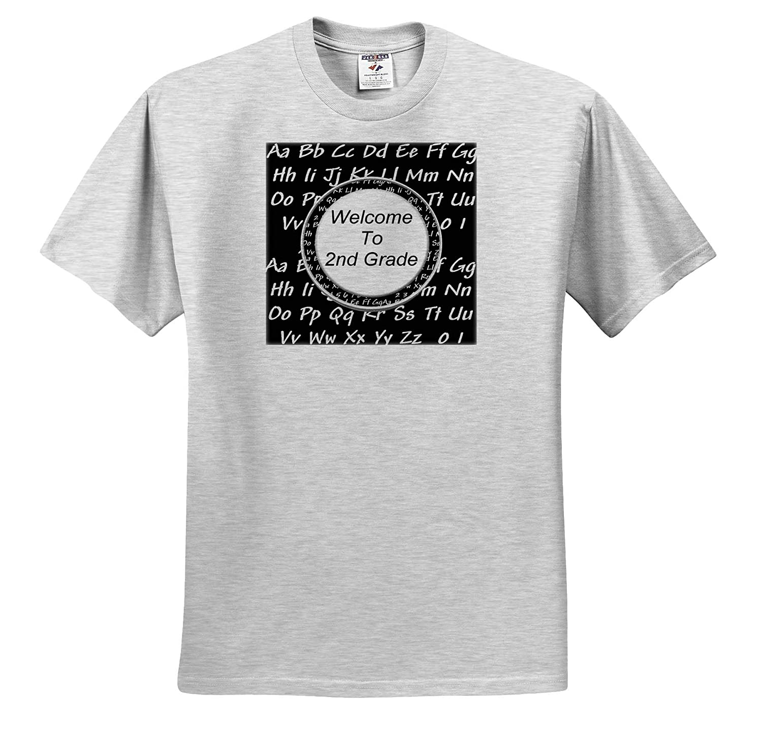 Welcome to 2nd Grade in Circle Frame ABCs in Black and White Design T-Shirts 3dRose Beverly Turner Welcome to 2nd Grade