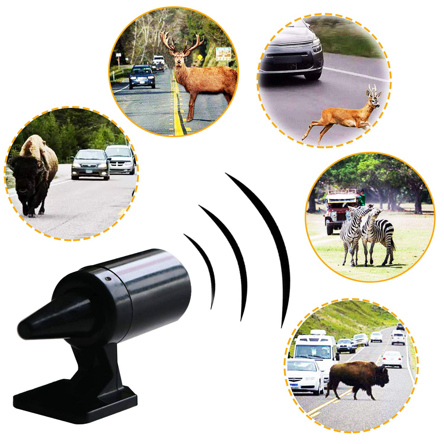 DFYOU 4 PCS Deer Whistles for Car Vehicles with Extra Bases Deer Warning Devices Ultrasonic Wildlife Alarm for Auto Motorcycle Truck SUV and ATV to Save a Deer Black