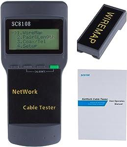 Powstro Network LAN Length Cable Tester Meter 5E 6E SC8108 CAT5 RJ45 GRAY