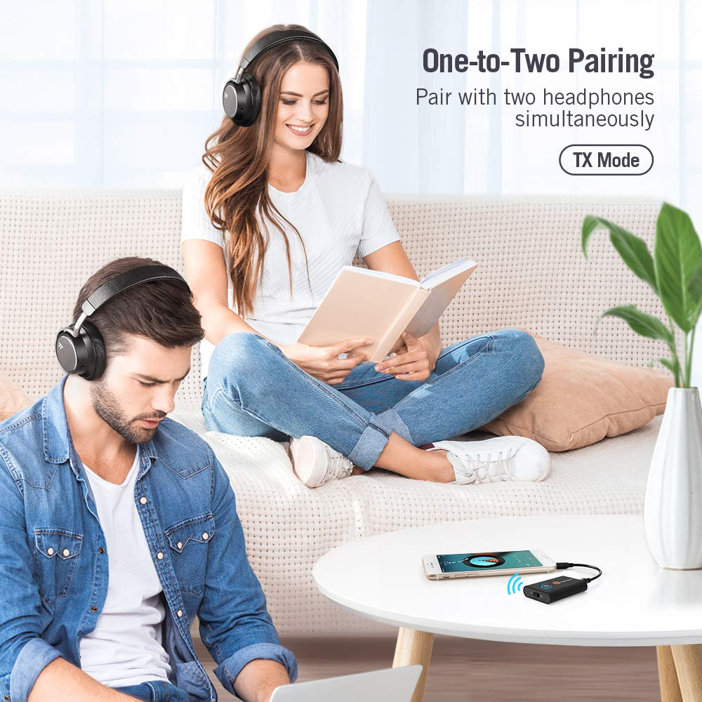 aptX Low Latency, 2 Devices Simultaneously, for TV//Home Sound System TaoTronics Bluetooth 5.0 Transmitter /& Receiver,2-in-1 Switchable Wireless Audio Music Streaming Adapter with 3.5mm Stereo Output