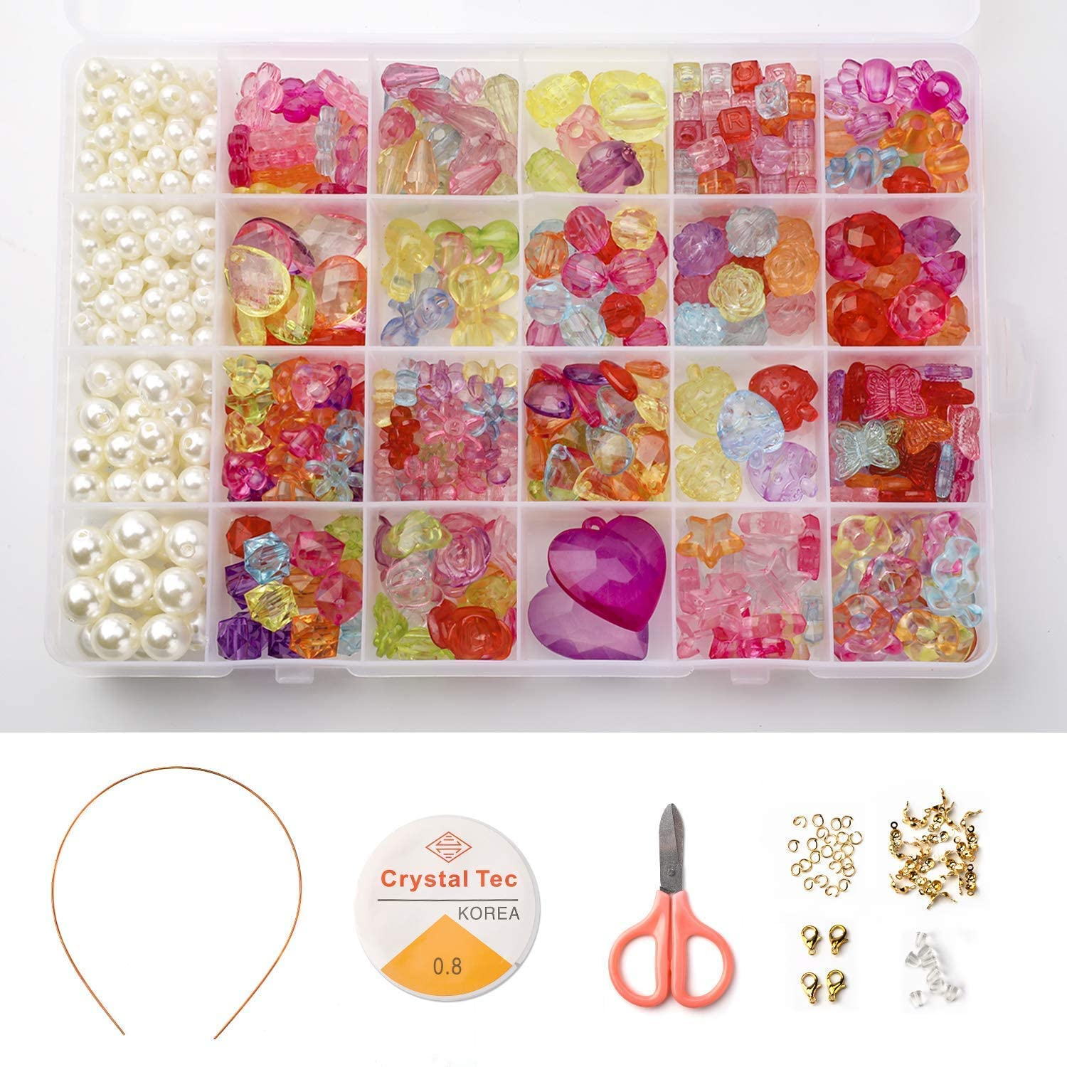 Phogary Children DIY Beads Set500pcs Colourful Beads for Jewellery Making for