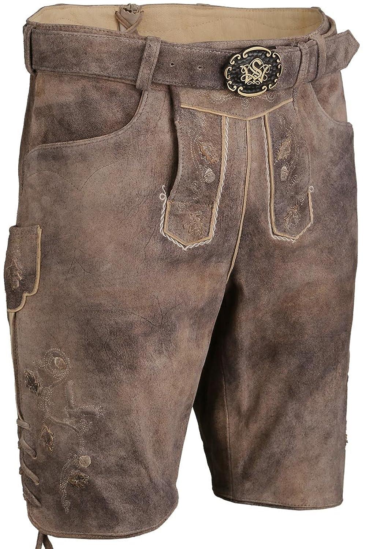 Herren Spieth & Wensky Kurze Lederhose mit Gürtel und Lederapplikationen hellbraun, hellbraun,