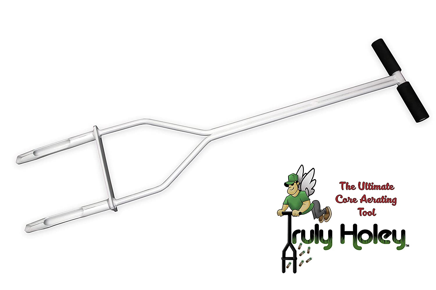 Truly Holey Manual Lawn Aerator Tool - 5 Pounds - Two Prong - Foot Bar - 40 in Height, 7 ½ in Wide