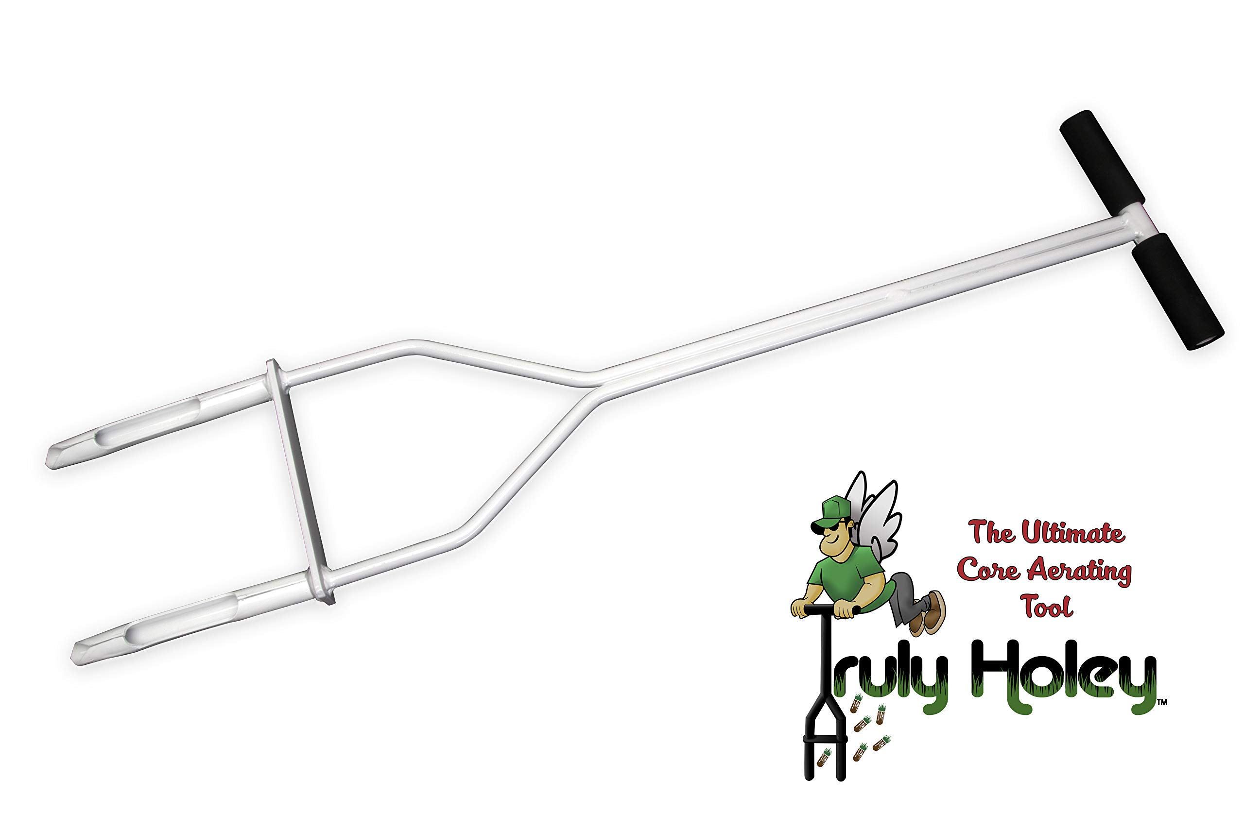 Truly Holey Manual Lawn Aerator Tool - 5 Pounds - Two Prong - Foot Bar - 40 in Height, 7 ½ in Wide by TRULY HOLEY THE ULTIMATE CORE AERATING TOOL